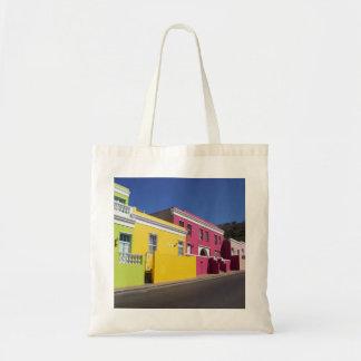 Casas coloridas en BO-Kaap, Cape Town, bolso Bolsa Tela Barata