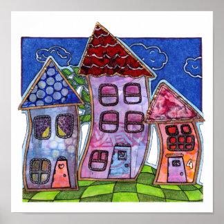 Casas coloridas enrrolladas póster