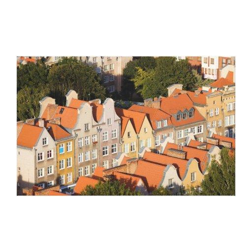 Casas de ciudad viejas de Gdansk en Polonia Impresiones En Lienzo Estiradas