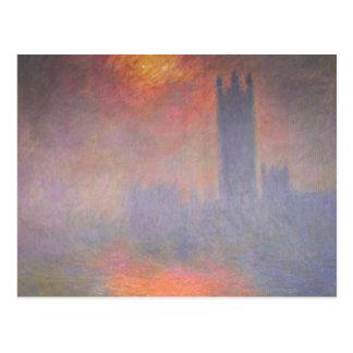 Casas de Claude Monet Londres del parlamento Reino Tarjeta Postal