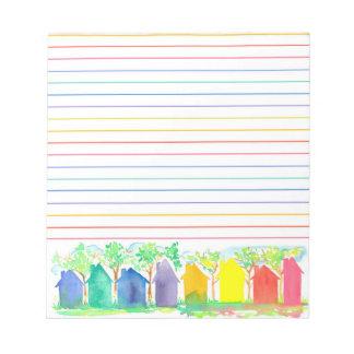Casas de la cabaña del arco iris de la acuarela libretas para notas