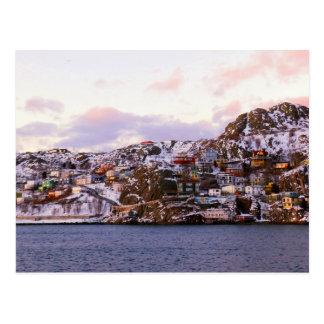 Casas de la haba de jalea pintadas por puesta del  postal
