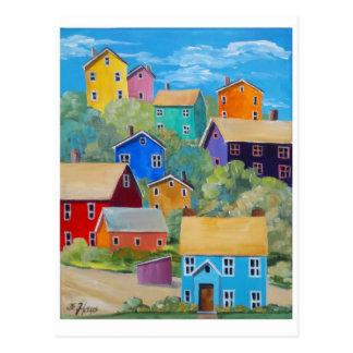 Casas de la ladera del arco iris tarjeta postal