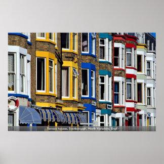 Casas de la terraza, Scarborough, North Yorkshire, Poster