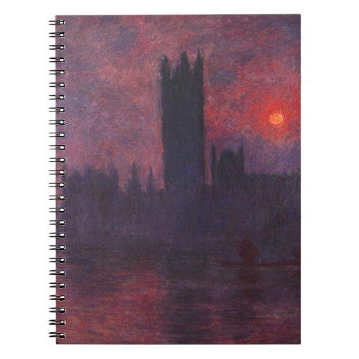 Casas de Monet del parlamento en el cuaderno de la