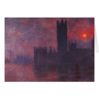 Casas de Monet del parlamento en la tarjeta de not