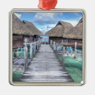 Casas de planta baja ideales de Bora Bora Adorno Navideño Cuadrado De Metal
