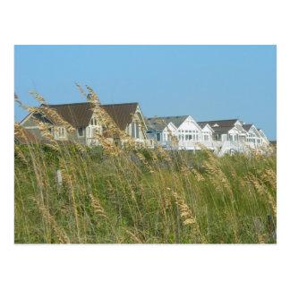 Casas de playa e hierba de la playa postal