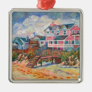 Casas de playa en la isla de Pawleys Adorno Navideño Cuadrado De Metal