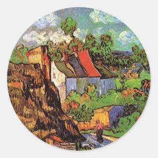 Casas de Van Gogh en cabañas del país del vintage Etiqueta Redonda
