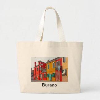 Casas del color en la isla Burano Italia de Veneci Bolsa Tela Grande
