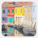 Casas del color en la isla Burano Italia de Veneci Pegatinas Cuadradas