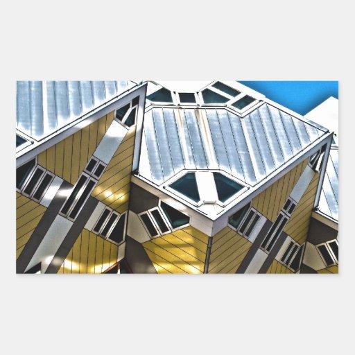Casas del cubo de Rotterdam Rectangular Pegatina