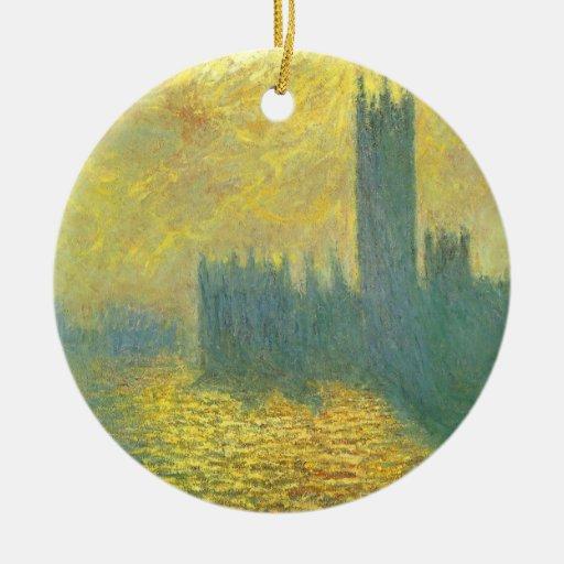 Casas del parlamento, cielo tempestuoso de Claude  Ornamento Para Arbol De Navidad