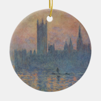 Casas del parlamento en invierno de Claude Monet Adorno Navideño Redondo De Cerámica