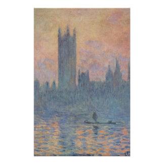 Casas del parlamento en invierno de Claude Monet Papelería De Diseño