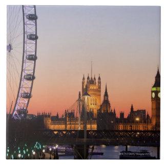 Casas del parlamento y del ojo de Londres Azulejo Cuadrado Grande