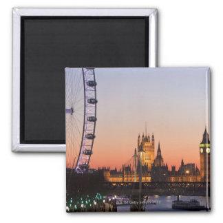 Casas del parlamento y del ojo de Londres Imán Cuadrado