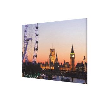 Casas del parlamento y del ojo de Londres Impresión En Lona Estirada