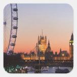 Casas del parlamento y del ojo de Londres Calcomanía Cuadrada
