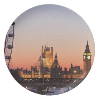 Casas del parlamento y del ojo de Londres Plato Para Fiesta