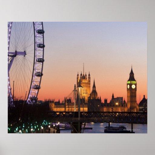 Casas del parlamento y del ojo de Londres Póster