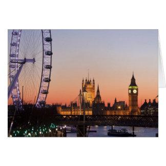 Casas del parlamento y del ojo de Londres Tarjeta De Felicitación