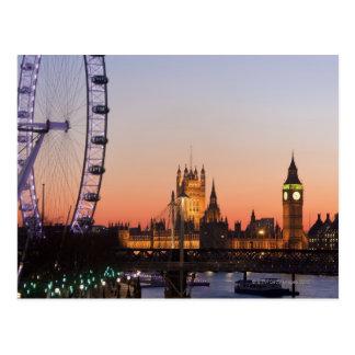 Casas del parlamento y del ojo de Londres Tarjetas Postales