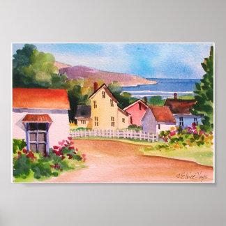 Casas del pueblo de la vista al mar posters