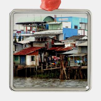 Casas del río Mekong Adorno Navideño Cuadrado De Metal