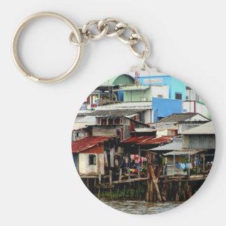 Casas del río Mekong Llavero Redondo Tipo Pin