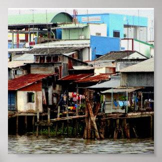 Casas del río Mekong Impresiones