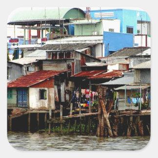 Casas del río Mekong Pegatina Cuadrada