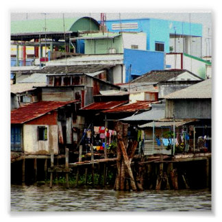 Casas del río Mekong Póster