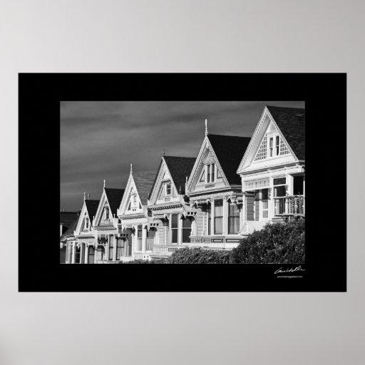 Casas del Victorian en la calle de Steiner, cuadra Posters