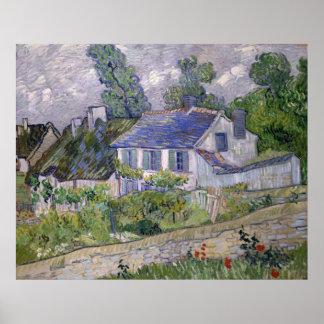 Casas en Auvers de Vincent van Gogh Póster