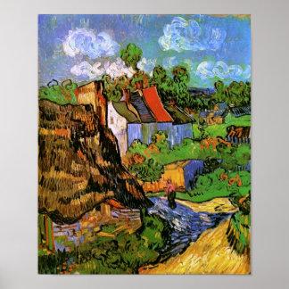 Casas en bella arte de Auvers Van Gogh Póster