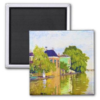 Casas en el Achterzaan, Claude Monet 1872 Imán Cuadrado