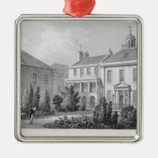 Casas en el cuadrado de los cirujanos, Edimburgo Adorno Cuadrado Plateado
