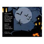 Casas encantadas e invitación de Halloween de la Postal