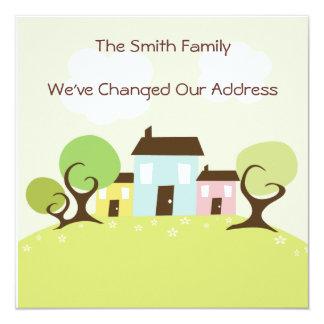 """Casas lindas que mueven el cambio de dirección invitación 5.25"""" x 5.25"""""""