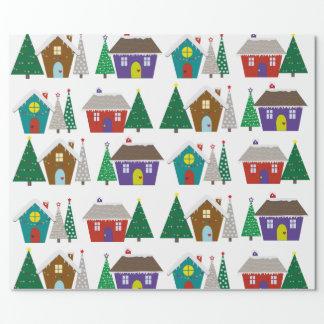 Casas nevosas lindas - papel de embalaje del papel de regalo