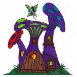 Casas púrpuras de la seta con la escultura de hada escultura fotografica