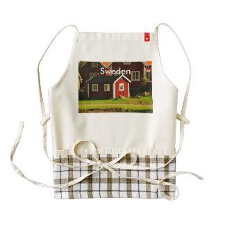 Casas rojas en Suecia Delantal Zazzle HEART