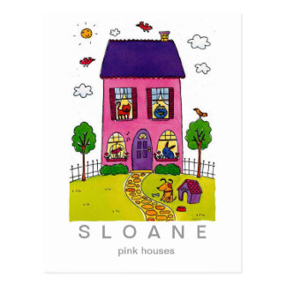 Casas rosadas postal