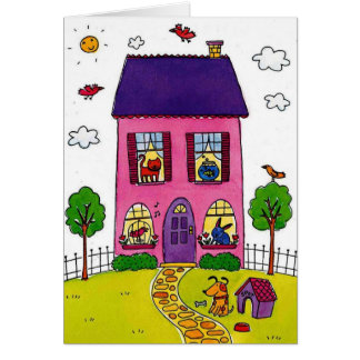 Casas rosadas tarjeta de felicitación