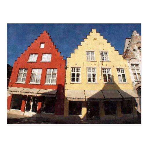 Casas viejas en Brujas Bélgica Tarjeta Postal