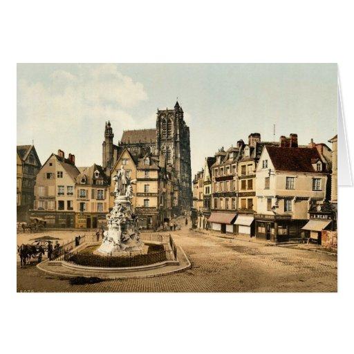 Casas viejas en la ruda obra clásica de St Pierre, Tarjeton