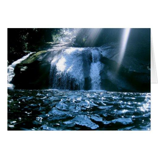 Cascada azul tarjetas