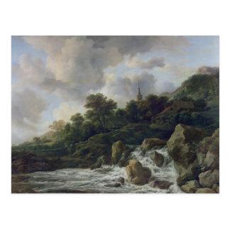 Cascada cerca de un pueblo, c.1665-70 tarjeta postal